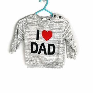 H&M 'I ♥️ Dad' Knit Sweater 4-6m